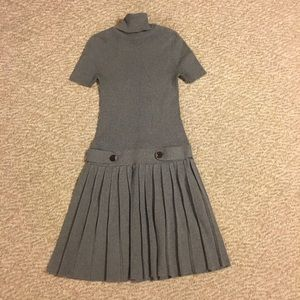 Vintage gray pleated sweater dress